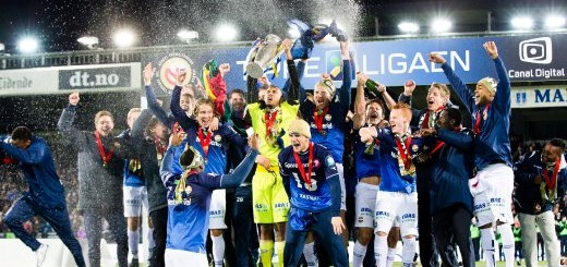 Players of Norwegian soccer club Stroemsgodset celebrate